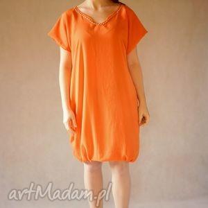 bombka pomarańczowa, zwiewna, lekka, elegancka, bombka, pomarańczowa sukienki