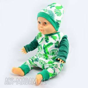 liscie biało-zielona bluzka dla dziecka, bawełna organiczna, rozmiary 68-122