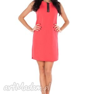 Sukienka R_4 koral, sukienka, dresówka, wygodna, zamek