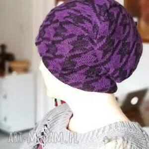 czapka wełna fiolet uniwersalna - czapka, wełna, etno, ciepła, miła, narty