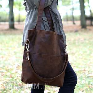 Brązowa torba z zamszu ekologicznego regulowanym paskiem , torba, torebka, zamszowa