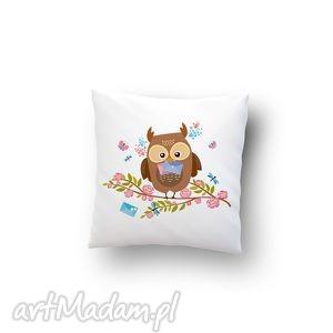 handmade poduszki poszewka - sowa