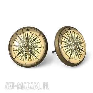ręcznie wykonane kolczyki kompas - kolczyki wkręty