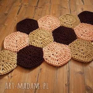 unikalny, dywanik plaster miodu, wnętrze, sznurek, hexagon, szydełko, dom