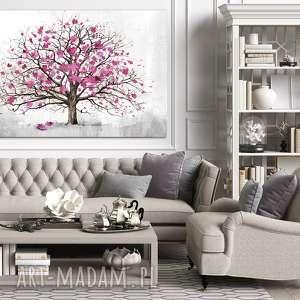 nowoczesny obraz do salonu drukowany na płótnie z drzewem, różowe drzewo, duży