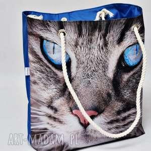 hand-made torebki torba plażowa, duża wodoodporna na plażę, marynarska ze sznurami kot
