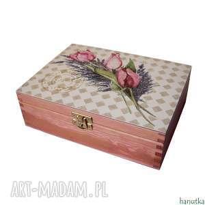 Prezent TULIPANY Z LAWENDĄ - herbaciarka, pudełko, prezent, szkatułka, skrzyneczka