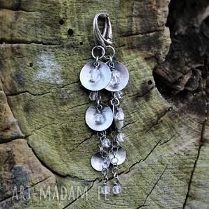 kryształ górski z miseczkami, górski, srebro oksydowane, biżuteria