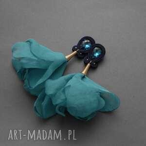 klipsy sutasz z kwiatkiem, sznurek, delikatne, długie, morskie, eleganckie