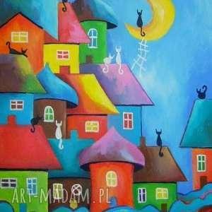 obraz na płótnie - bajkowe miasteczko 40/30 cm, bajka, miasteczko, akryl, koty