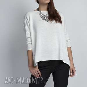 swetry luźny sweterek, swe040 ecru mkm, oversize, luźny, szeroki, elegancki