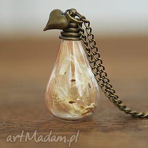 dmuchawiec naszyjnik, dmuchawiec, susz, natura, nasiona, serce biżuteria
