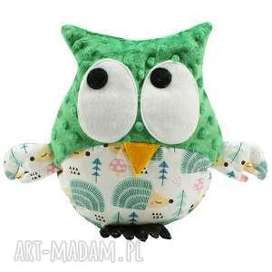 ręcznie wykonane zabawki sowa przytulanka gustaw, jeże, jeżyki, zielony polar