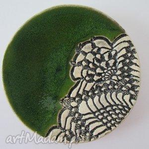 zieloniutki mini talerzyk - ,ceramiczny,talerzyk,fusetka,ceramiczna,koronkowa,