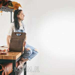 rozmiar m oryginalna damska skórzana torba w kolorze brązowym oraz whiskey