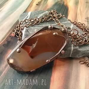 naszyjnik wisiorek z łańcuszkiem, chalcedon bryłka, kamień agat