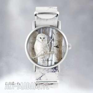 zegarki zegarek - biała sowa marmurkowy, nato, zegarek, bransoletka