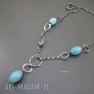 ręcznie robione naszyjniki bryłki niebieskiego kwarcu w naszyjniku