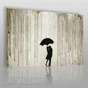 obrazy obraz na płótnie - deszcz para beżowy brązowy 120x80 cm 46403