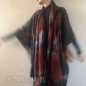 Elegancki wełniany szal w kolorach ziemi szaliki anna damzyn