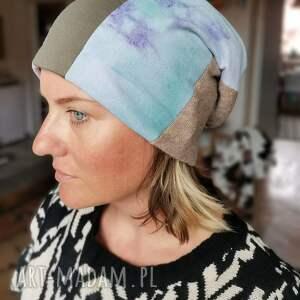 hand-made czapki czapka patchworkowa na podszewce rozmiar uniwersalny, polecam box