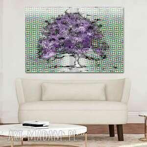 grafika drukowana na płótnie fioletowe drzewo 90 x 60, nowoczesny obraz