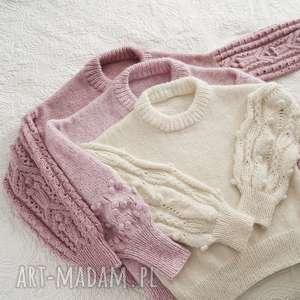 swetry bomberek ecru, sweter, bomberek, dziergany, wełniany, ciepły
