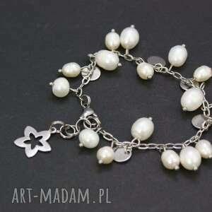 bransoletka perły i stal chirurgiczna, bransoletka, perły, naturalne