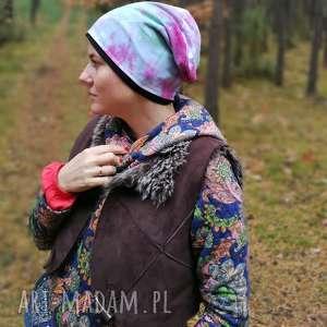 czapka damska dzianinowa farbowana sportowa, czapka, etno, boho, sport, dzianina