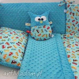 pokoik dziecka ochraniacz minky do łóżeczka - autka dark turquoise