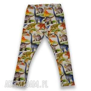 dinozaury spodnie legginsy dla dziewczynki z pastelowymi dinozaurami, rozmiary