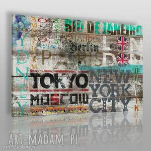 vaku dsgn obraz na płótnie - napisy miasta 120x80 cm 19301, miasta, napisy, podróże