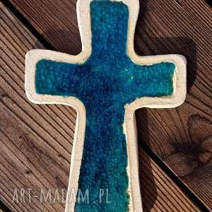 Krzyżyk na ścianę ceramika i szkło 5 - ,krzyż,krzyżyk,ceramiczny,fusing,szkło,glina,
