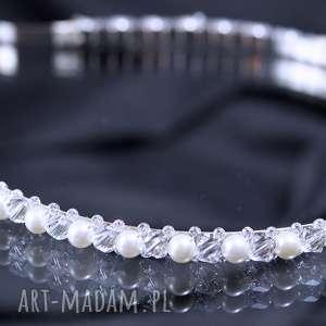 Opaska perła, swarovski, kryształ, perły, ozdoba, ślub
