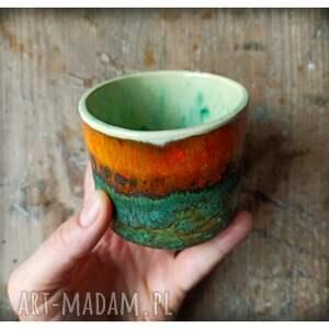 zielona ceramiczna osłonka na doniczkę, ceramika, pojemnik, puzderko, doniczka