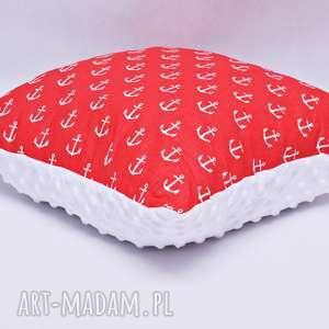 poduszka kotwice czerwone z białym minky, poduszka, kotwice, morze, morska