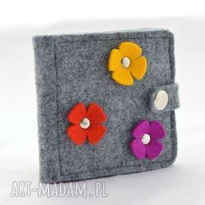hand made dla dziecka portfel - mini z kwiatkami czerwony, fuksja, żółty