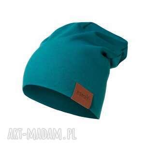 czapka podwójna szmaragdowa, basic, gładka