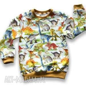 dinozaury kremowa całoroczna bluza dziecięca, bawełniana z dresówki