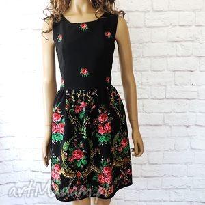 Czarna góralska sukienka folk wzór korona , sukienka, góralska, ludowa,