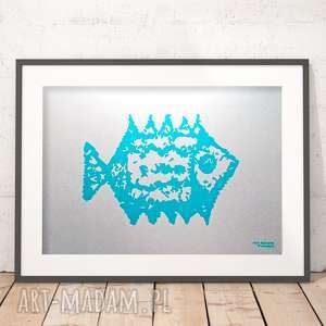 grafika z rybką, plakat rybą, ryba plakat, minimalizm na ścianę