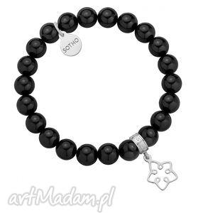 czarna bransoletka z pereł swarovski® crystal ze srebrną