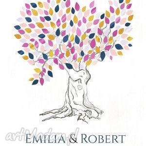 Plakat romantyczne drzewo wpisów 40x50 cm, księga, gości, plakat, drzewo, ślub
