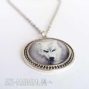 medalion, naszyjnik - biały wilk duży, naszyjnik, wisior