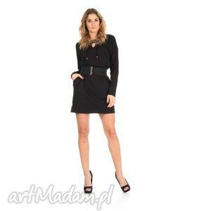 sukienki 46-sukienka sznurowany dekolt,czarna,rękaw długi,pasek , lalu, sukienka