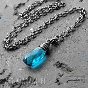 naszyjnik kropla - srebro i kwarc swiss blue, niebieski, minimalistyczny