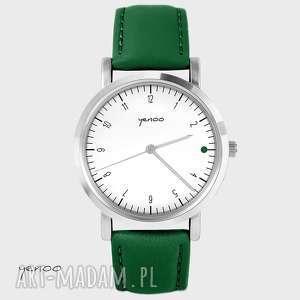 Prezent Zegarek - Simple elegance, biały, green point skórzany, zielony, zegarek
