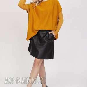 swetry dzianinowy t-shirt - swe224 saffron mkm, do pracy, szkoly, dzianina