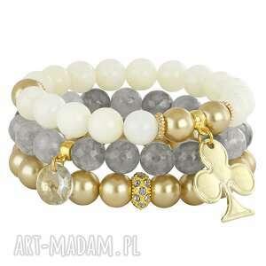 ręczne wykonanie bransoletki camille 3 - cream, gold & grey
