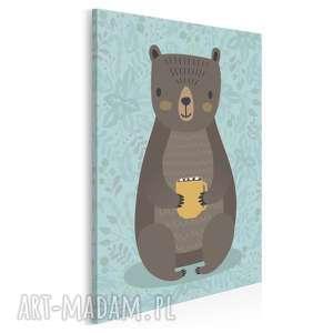 obraz na płótnie - zwierzę miś niedźwiedź 50x70 cm 69004, miś
